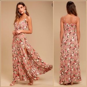Lulus everlasting bliss blush Floral maxi dress